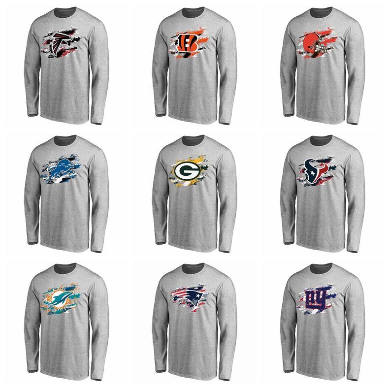 37e4cdaaa Compre Atlanta Lions Leões De Detroit Camiseta Green Bay Packers Miami  Dolphins Patriotas New York Giants Pro Linha Cinza Cores Verdadeiras T  Shirt De Manga ...