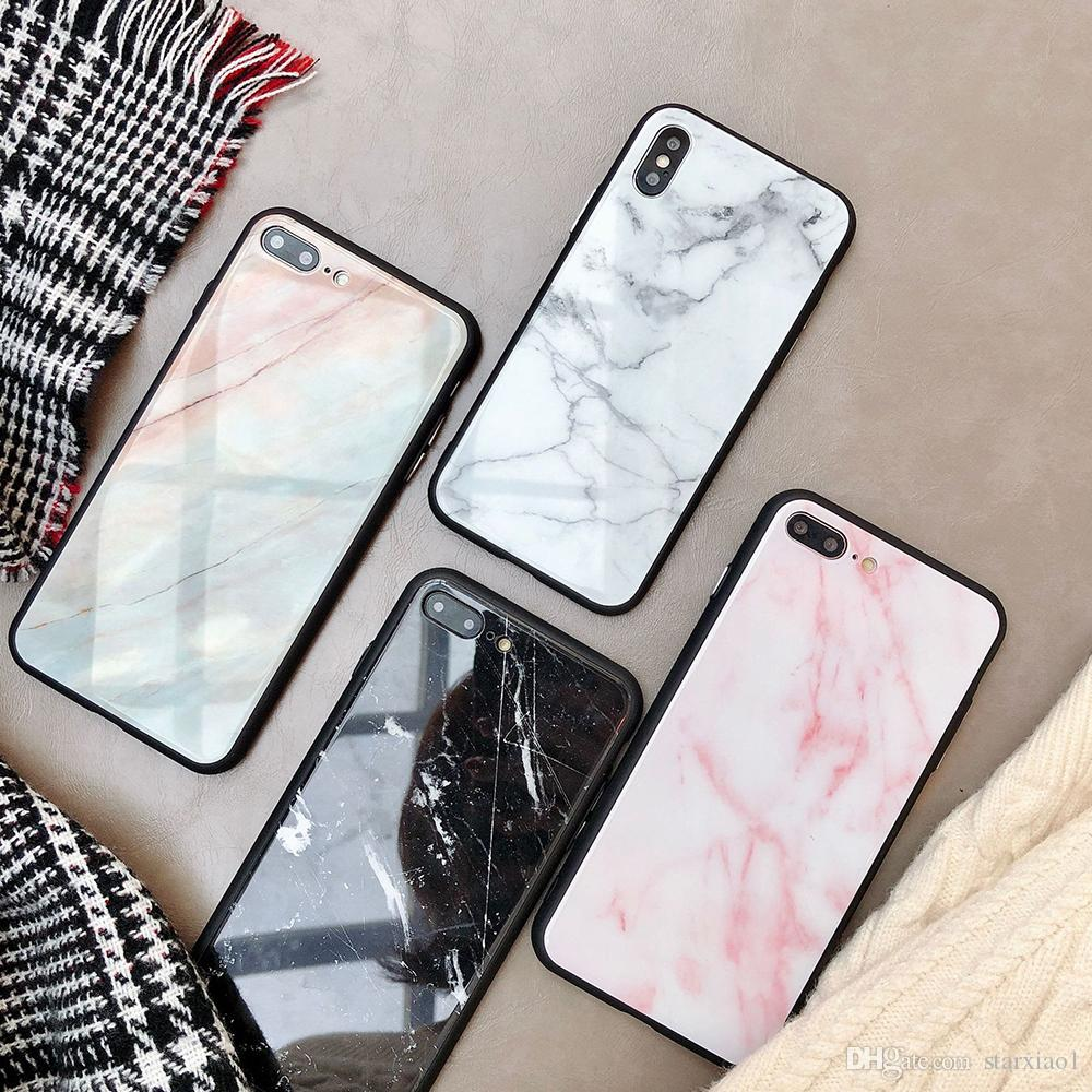 45e74abc30 Fashion New Marble Tempered Glass Phone Case For Apple IPhone X 8 7 6 6s  Plus All Inclusive Case Soft Edge Cover For IPhone Xs Max XR Coque  Bedazzled Phone ...