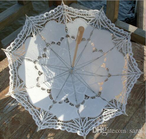 Paraguas de novia Parasol de encaje blanco Hecho a mano Verano Battenburg Paraguas de boda Decoraciones de boda Accesorios de boda
