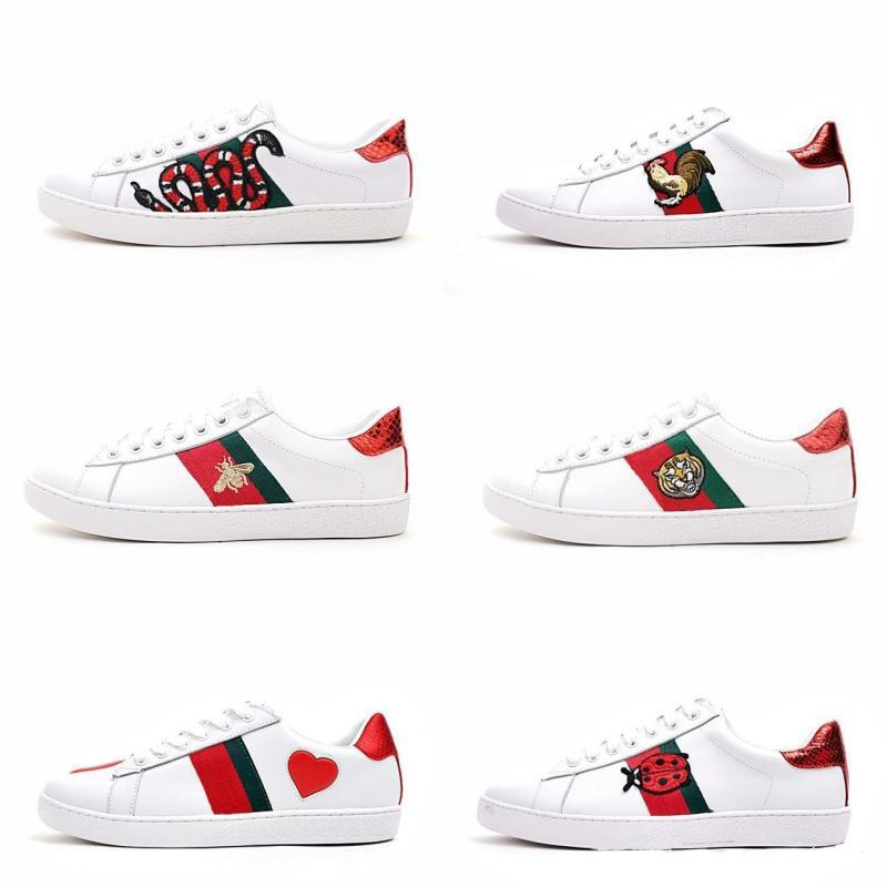 772d8a23e072c 2018 Designer Tennis Shoes Luxury Embroidered White Tiger Bee Fish Shoes  Genuine Leather Designer Sneaker Mens Women Casual Shoes Size 5 10 Slip On  Shoes ...