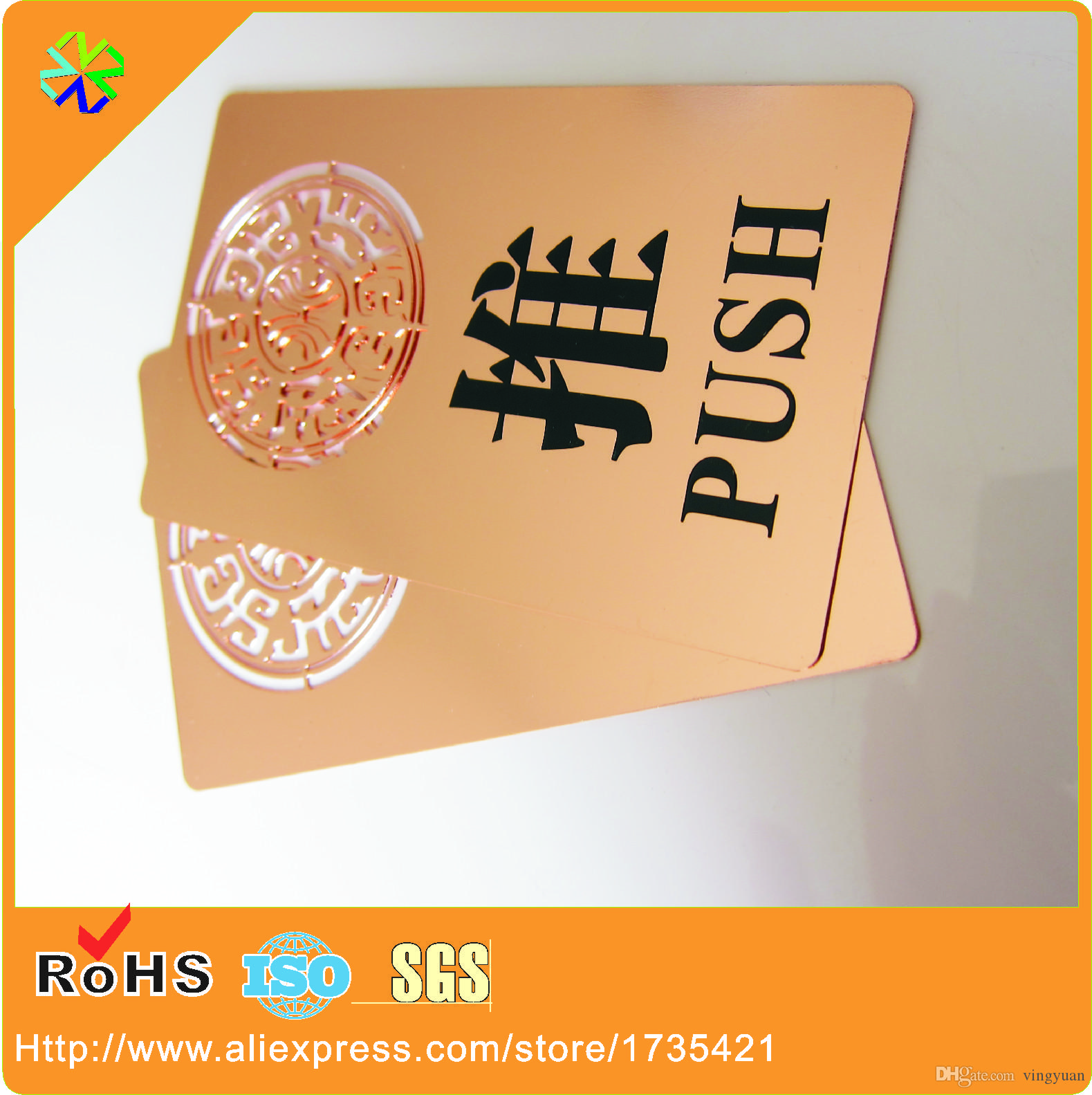 Custom Made Cheap Rose Gold Metal Business Cards with Printed Logo ...