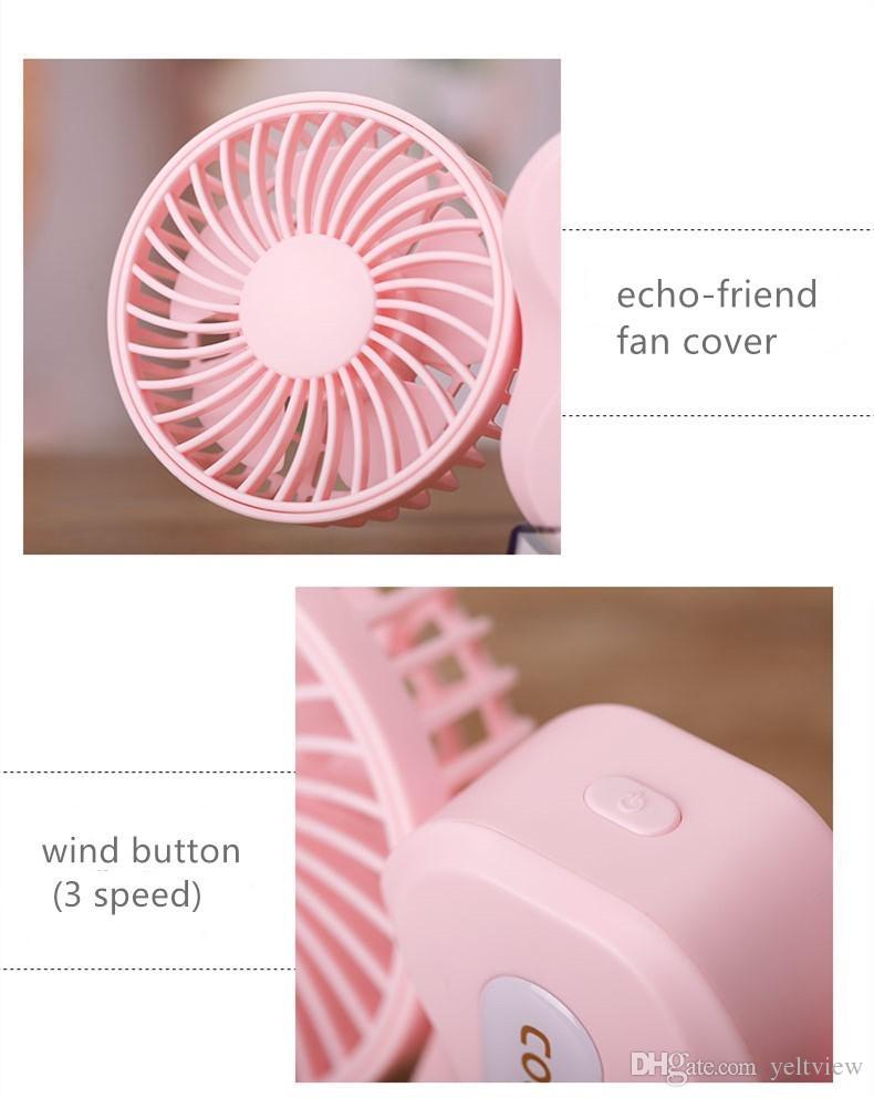 Mini ventilador portátil de múltiples funciones con USB Recargable Ventilador de dos hojas USB ventilador de dos hojas para niños