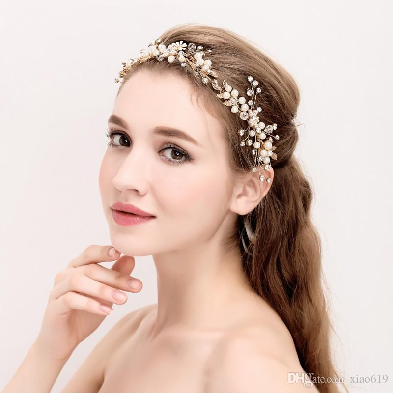 Boho Gold Leaf Crown Headband Bridal Tiara Hair Vine Pearls Wedding Jewelry  Women Headpiece Hair Accessories Scrunchies For Hair Vintage Wedding  Headbands ... 7035f283819