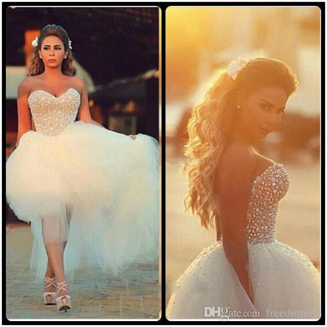 Arabic Pearls Top High Low Wedding Dresses Tulle Skirt Sweetheart Backless Short Front Long Back Bridal Gowns Cheap