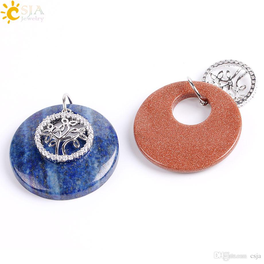 CSJA Zircon Diamond Beaded Tree of Life Hollow Round Necklace Pendants Natural Gems Stone Quartz Crystal Agate Goldstone Women Jewelry E836