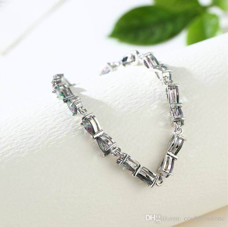 / Luckyshine Hot sell fashion 925 sterling silver newest natural Heart Fire Mystic Topaz gemstone chain bracelets