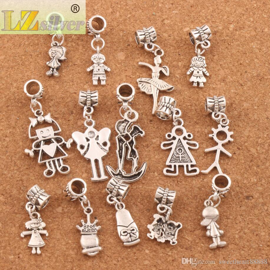Boy And Girl Dangle Big Hole Beads Tibetan Silver Fit European Charm Bracelet Jewelry DIY BM54