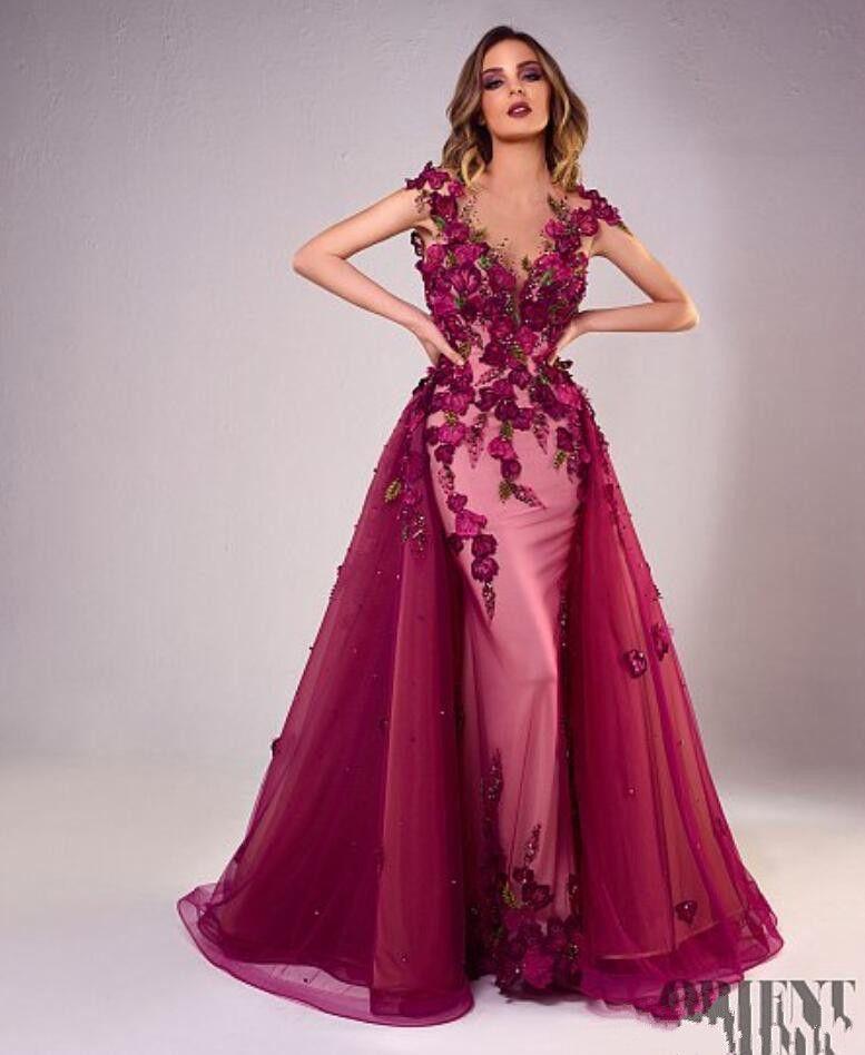 Tony Chaaya 2018 Prom Dresses a sirena con treno staccabile perline abiti da sera abito di pizzo senza maniche partito di lusso