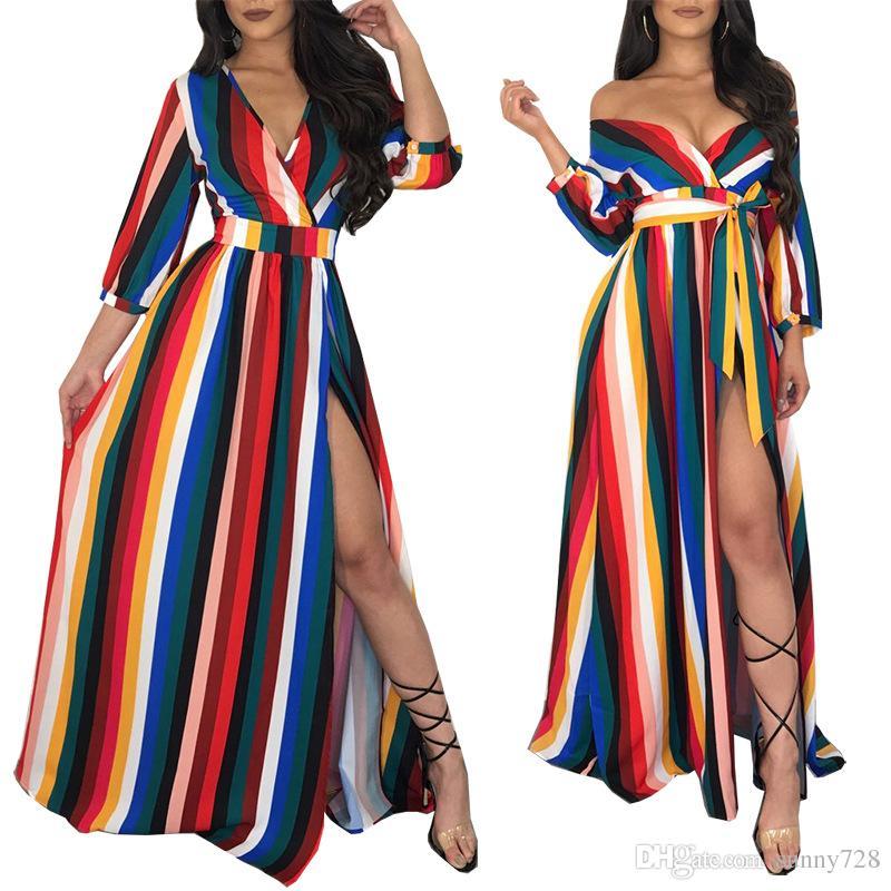 cf79056b2a0e3 2018 Autumn Hot Style Rainbow Striped A line Party Dress Side Split Deep V  Neck 3/4 Sleeves Fashion Long Evening Dresses Floor Length