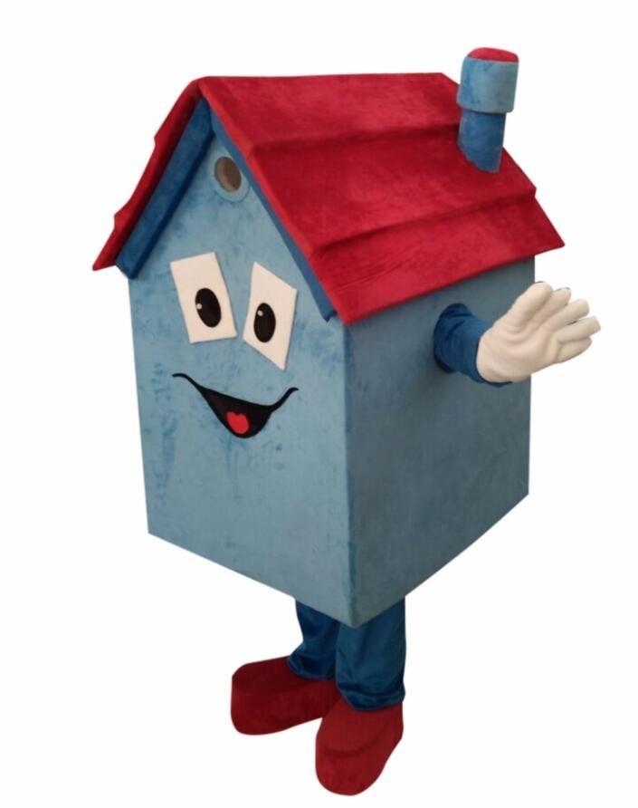 Diy Custom Made Unisex Maskottchen Blue House Cartoon Charakter Maskottchen Kostüm Party House Immobilien Maskottchen Kostüm