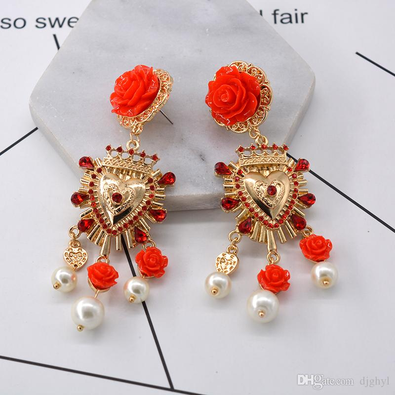 New Fashion Gold Color Rhinestones Earrings For Women Heart-shaped Red Rose Flower Drop Earrings Valentine's Day Gift