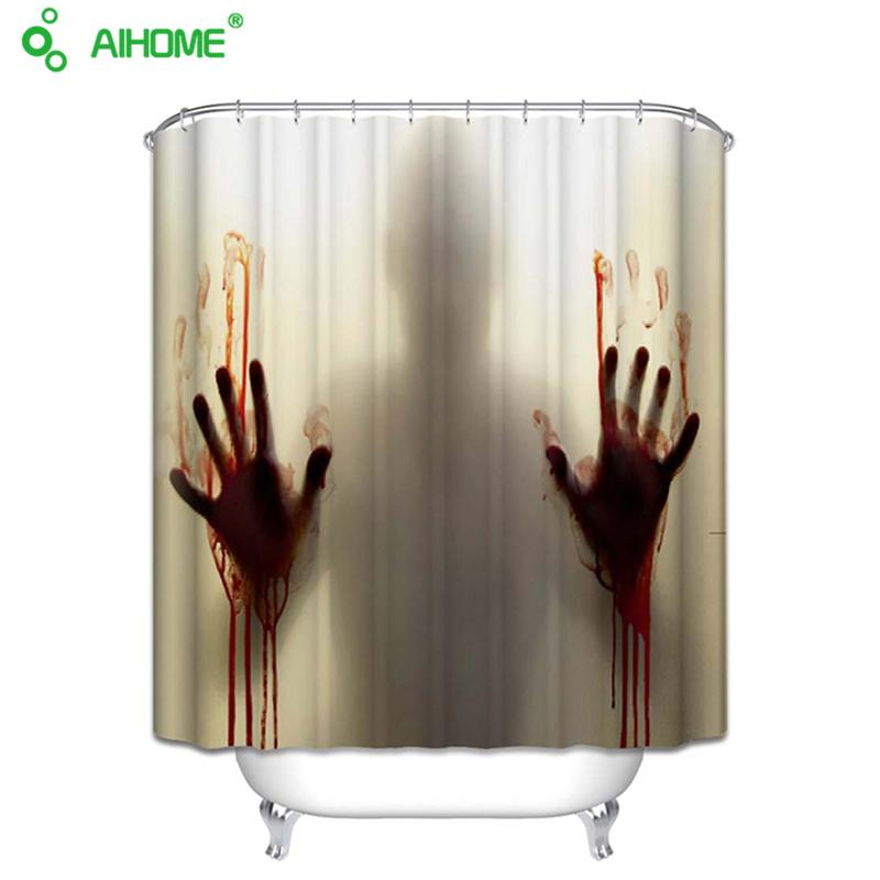 2019 Bloody Bathroom Waterproof Mildewproof Polyester Shower Curtain Bath Decorations With Hooks From Sheiler 2026