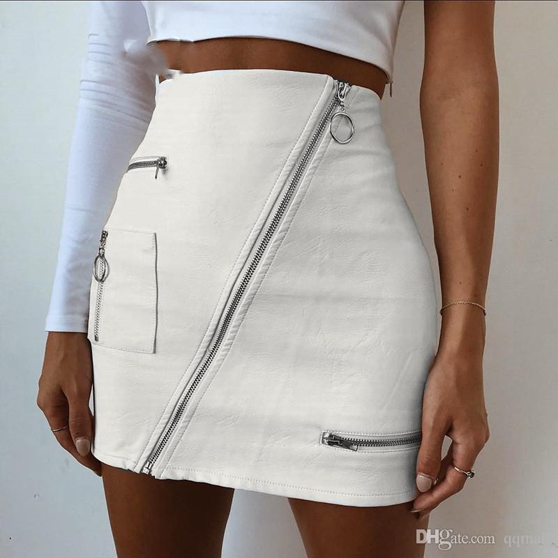 quality design 9bd07 bb199 Weiße koreanische Art-Röcke Womens Street Style eine Linie Rock Sommer hohe  Taille Vogue Steampunk Leder kurzen Rock