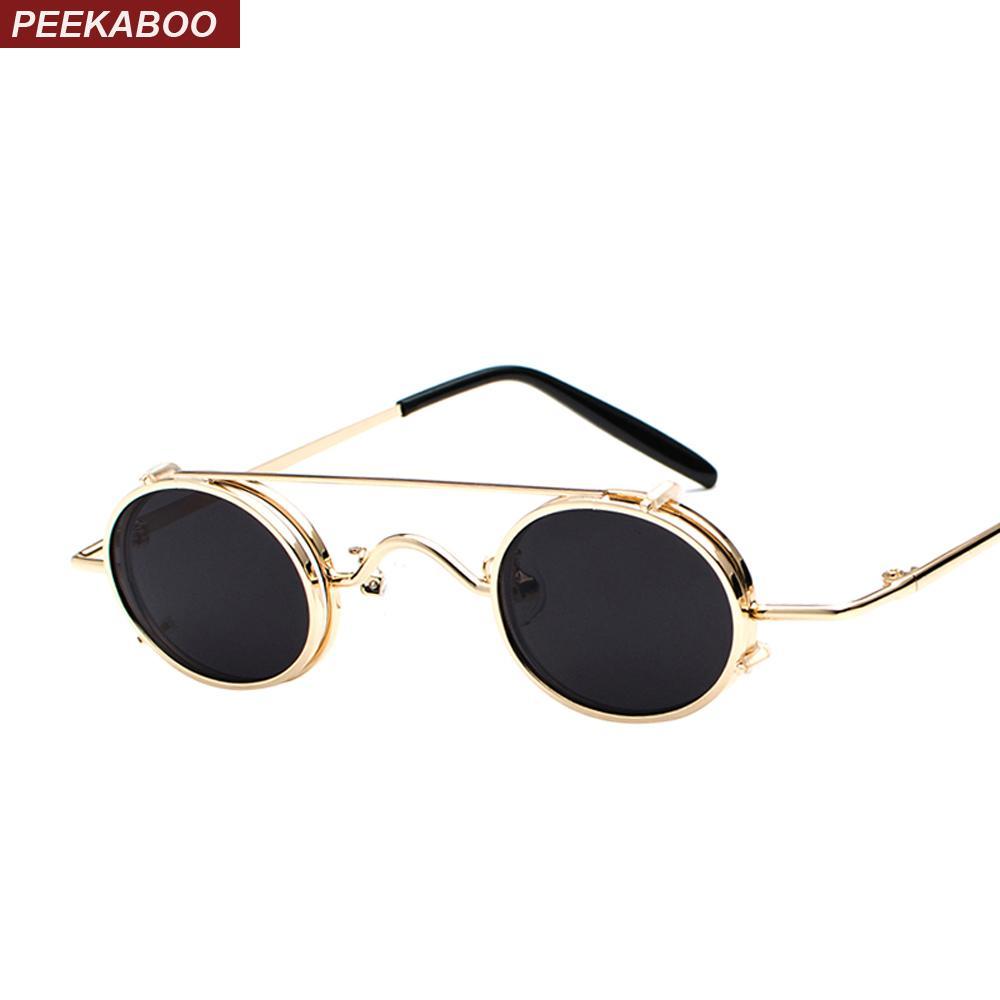 53b28c564a Compre Peekaboo Gafas De Sol Ovaladas Pequeñas Retro Vintage 2018 Marco De Metal  Plata Oro Negro Clip Punk En Gafas De Sol Para Hombres Regalo A $14.72 Del  ...