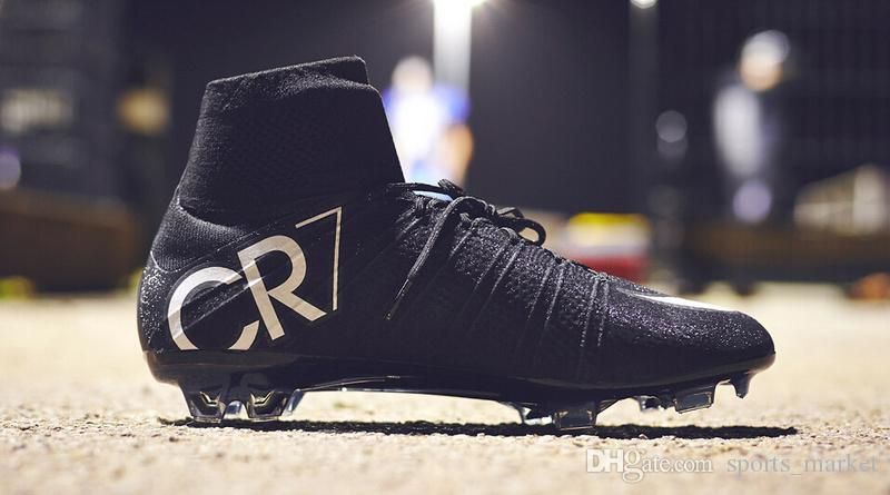 d42c2589e62b 2019 Football Boots 100% Original Black CR7 Soccer Shoes Mercurial Superfly  V FG Soccer Cleats High Ankle Ronaldo Sports Sneakers From Sports market