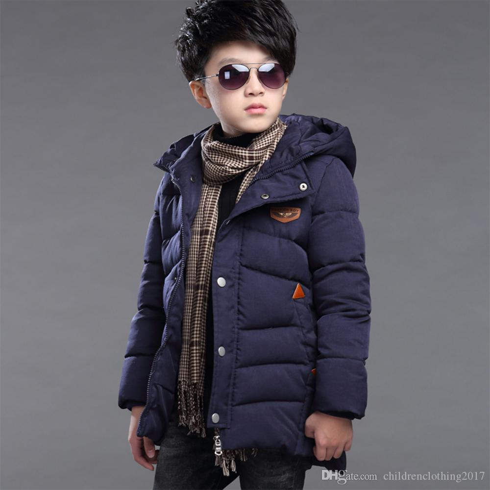 76c8f5ab15c9 New Baby Boys Winter Coat 6 to 14 Years Hooded Children Solid Down ...