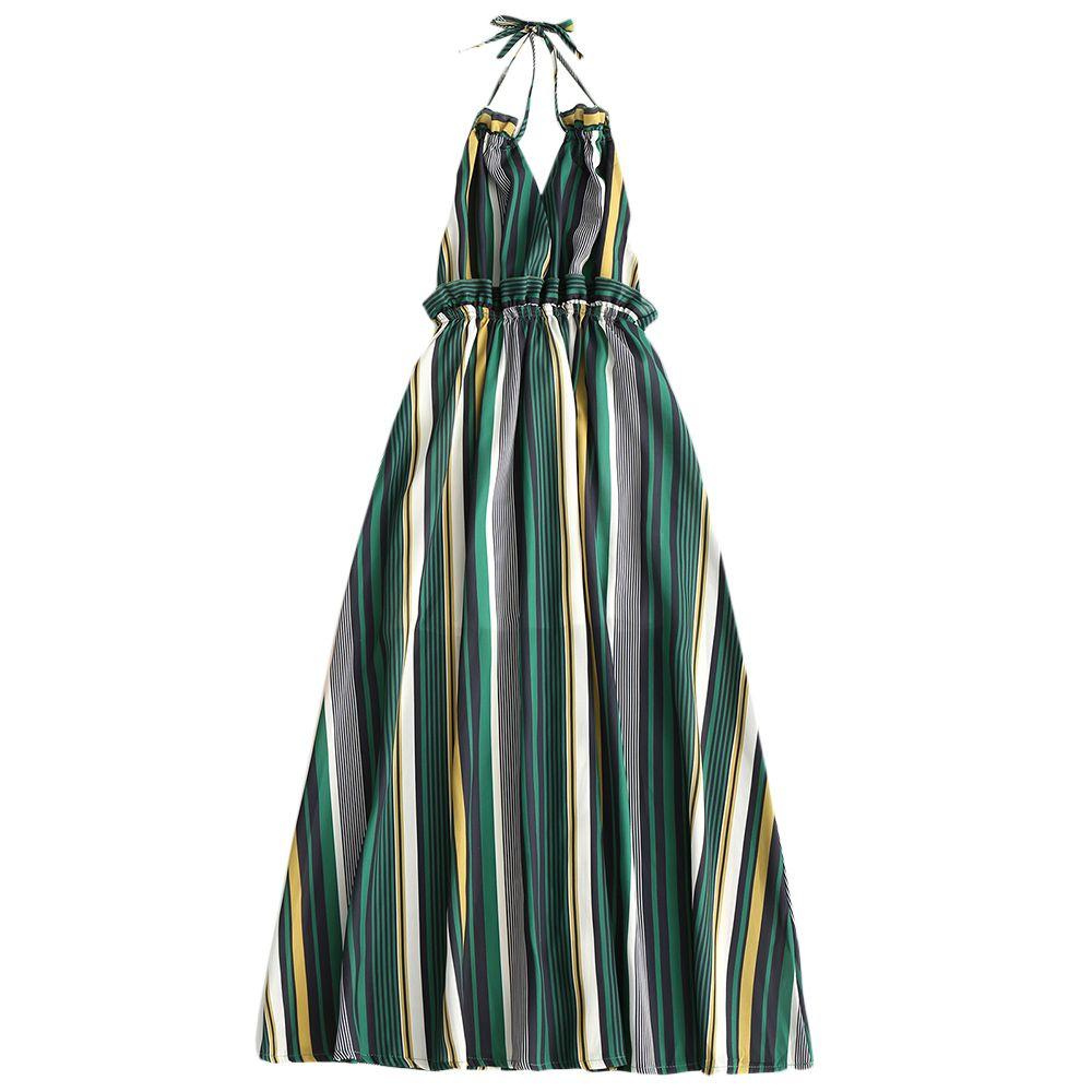 037a27b1a7 ZAFUL Summer Women Boho Dress Casual Striped Ruffled Backless Halter Maxi  Dresses Beach Wear V Neck Long Dress Bandage Sundress