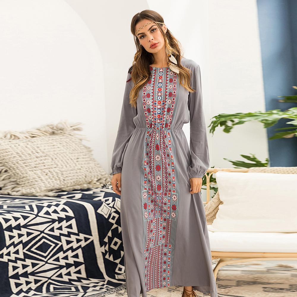 e76c70613bd Acheter Khale Yose 2018 Robe Maxi Automne Manches Longues Imprimé Floral Bohème  Robes Pour Les Femmes Grande Taille Plus Boho Chic Robe Gitane Ethnique De  ...