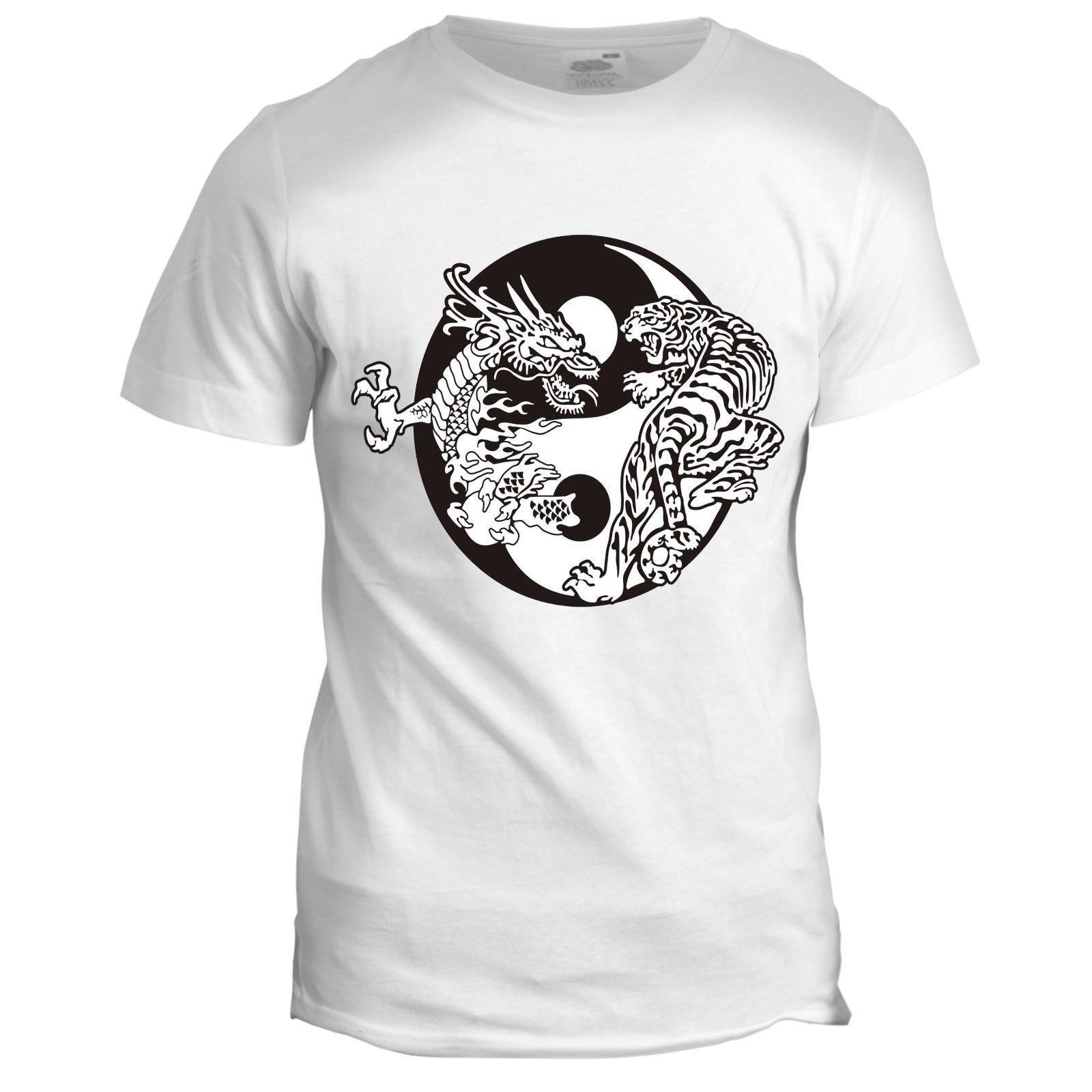 7c800ae27ea6 Chinese Yin Yang Dragon Inspired Japanese Tiger Martial Arts T Shirt Cool  Casual Pride T Shirt Men Unisex New Fashion Tshirt Loose Size T Shirt T  Shirts ...