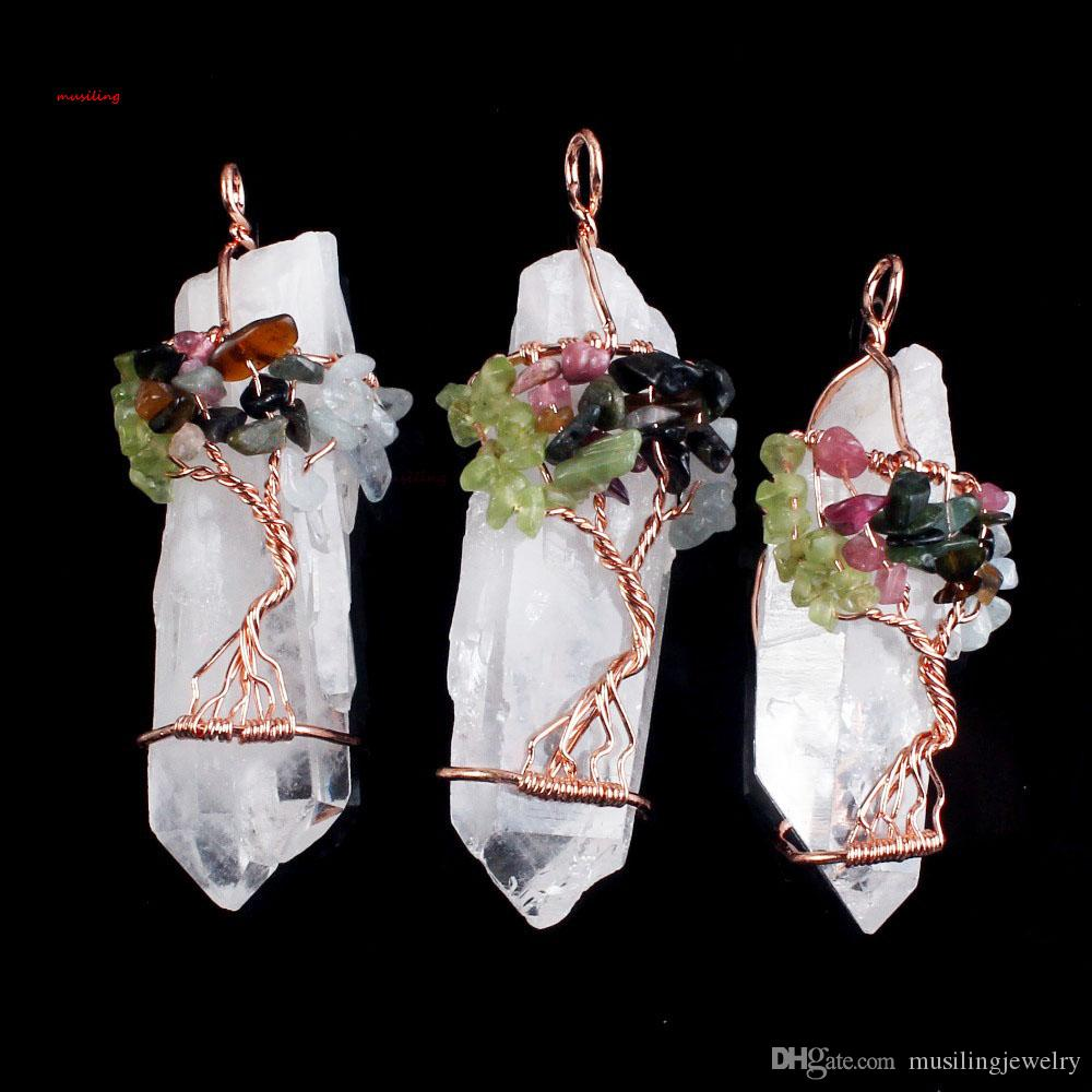 Colgantes Collar Cadena Vida Árbol Blanco Cristal Cuarzo Piedra natural Hexágono Prisma Magia Reiki Encantos Wicca Bruja Amuleto Joyería