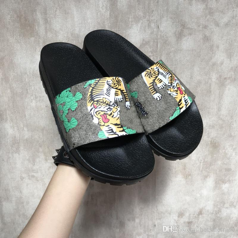Slippers Luxury Tigers Fashion Luxury Sandals Men Women Slippers Tiger Cat Design Summer Huaraches slippers flip Wholesale Box Include online cheap quality clearance 2015 sale discount finishline cheap price buy cheap buy U7whCFDVt