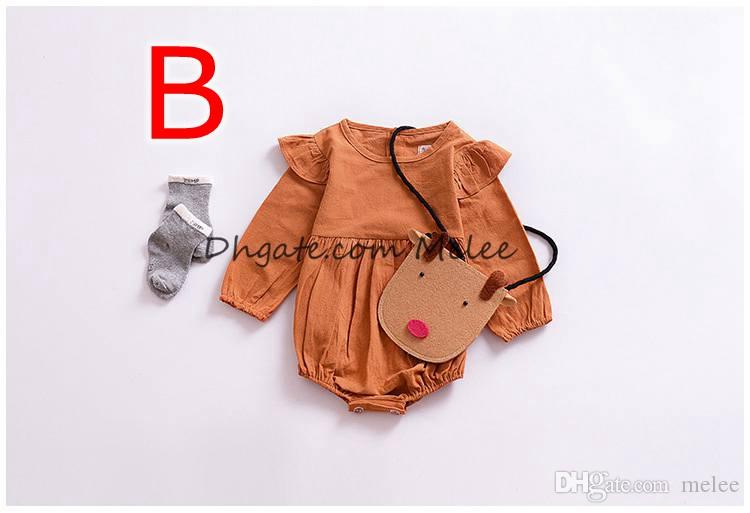 INS Spring Autumn Infant Cotton Romper Fly sleeves Pumpkin color Baby Girls Rompers Solid Color Long Sleeve Jumpsuits Winter Kids Clothing