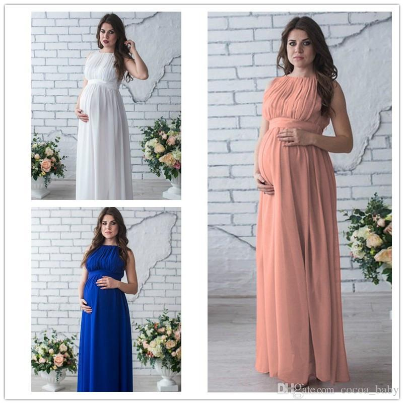 b96fcaae7 Compre 2018 Venta Caliente Vestido De Maternidad Accesorios De Fotografía Embarazo  Desgaste Elegante Vestido De Noche Del Partido Ropa De Maternidad Para ...