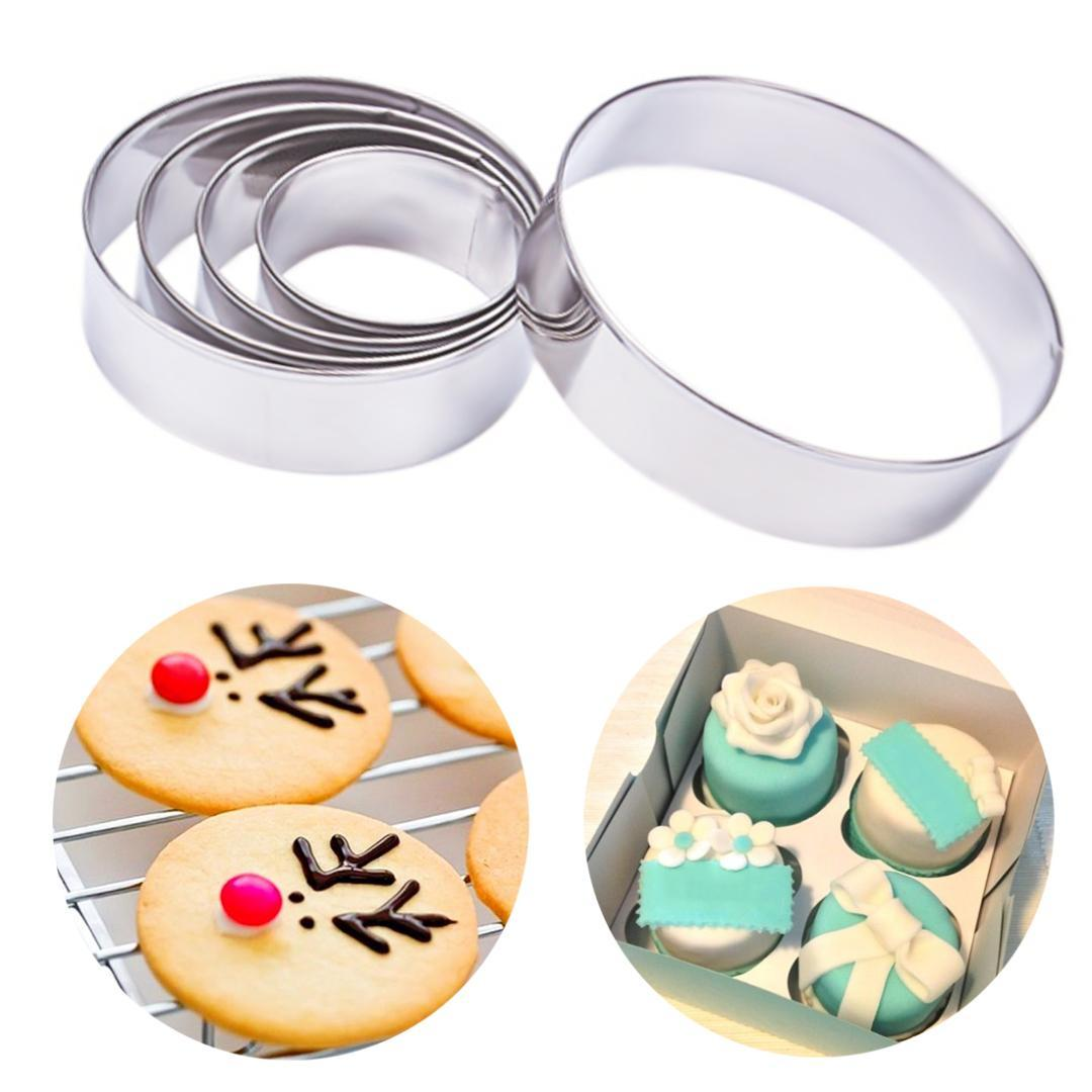 5pcs/set Round Circle Stainless Steel Cookie Cutter Cake Decorating Tools Fondant Mousse Cake Molds Kitchen Baking Cookie Tools
