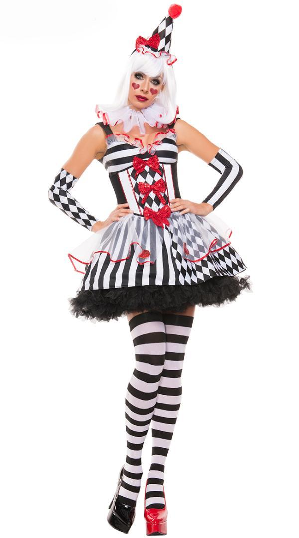 New Super  Clown Circus Horror Costume Halloween High quality Ghosts Cosplay Fancy Dress Adult Women sexy