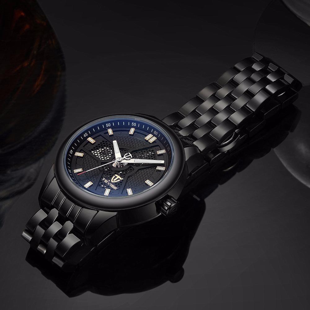 7bef9bc75f4 Compre Tevise Homens Preto De Aço Inoxidável Relógio Mecânico Automático  Luminosa Analog Mens Esqueleto Relógios Top Marca De Luxo 9008G De Yongq