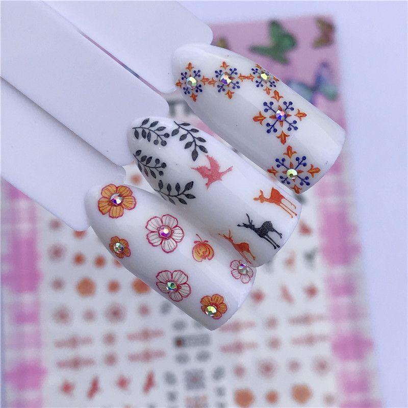 1 Sheet Retro Nail Designs 3d Diy Sticker Nails Charm Nail Art