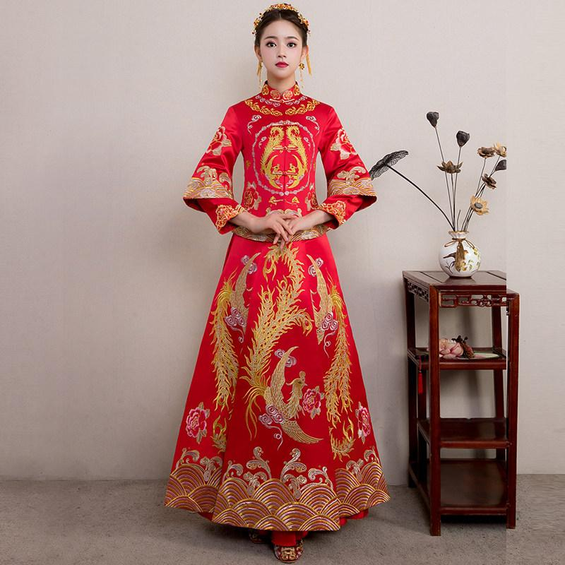 78268ed5f80 2019 Red Bride Cheongsam Vintage Chinese Style Wedding Evening Dress  Clothing Embroidery Phoenix Qipao Costume Vestidos Size S XXL From  Baxianhua