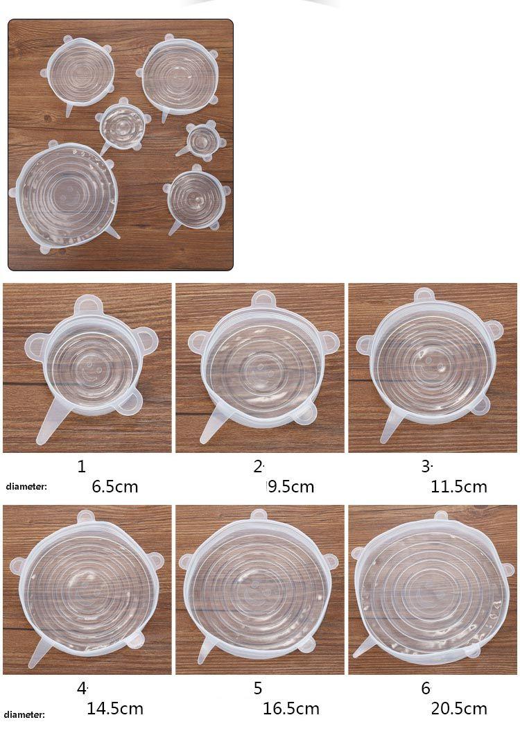 / Set Silicone Stretch Couvercles Aspirateur Couvercles Frais Garder Wrap Joint Couvercle Pan Couvercle Cuisine Outils Accessoires Lave-vaisselle HH7-1057