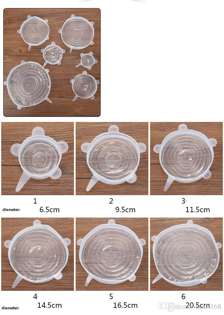 6 Teile / satz Silikon Stretch Deckel Saugdeckel Frische Halten Wrap Dichtung Deckel Pan Abdeckung Küche Werkzeuge Zubehör Geschirrspüler