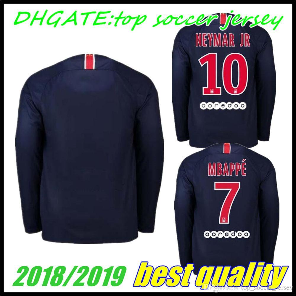 e27af519ed Compre PSG Casa Manga Comprida Camisas De Futebol 2018 2019   7 MBAPPE  Paris Saint Germain Camisa De Futebol   10 JR   23 DRAXLER Uniforme De  Futebol 2019 ...
