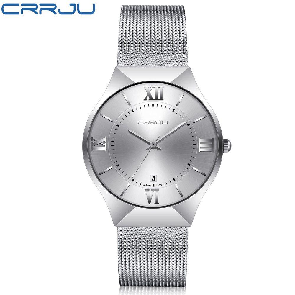 922a58283610 Compre Marca De Lujo Superior Relojes CRRJU Para Hombres Reloj De Malla De  Acero Inoxidable Pantalla Cuarzo Relojes Para Hombres Calendario Ultra Fino  Reloj ...