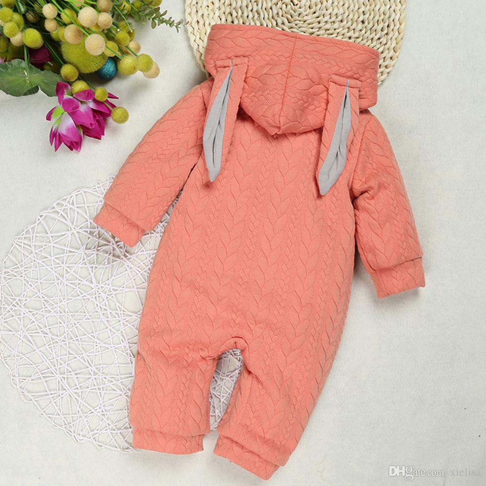 Baby Boy Clothes Baby Rompers Clothing for Newborn Girl One Piece Jumpsuit Rabbit Hooded Children's Clothing pink & brown