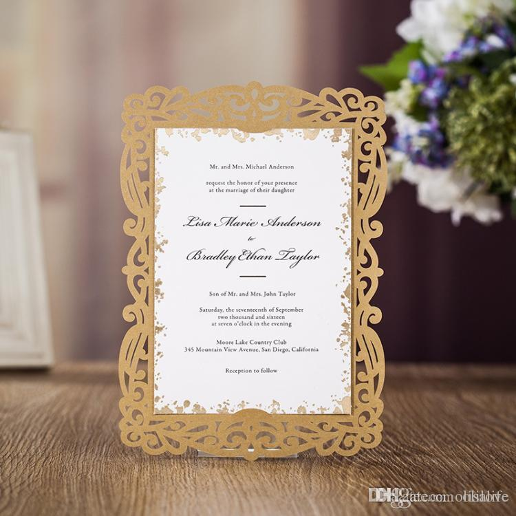 Gold Wedding Invitations.Gold Wedding Invitation Cheap New 2018 Laser Cut Folded Invitation Valentine Invitation Card Party Paper Card For Graduation Birthday Party