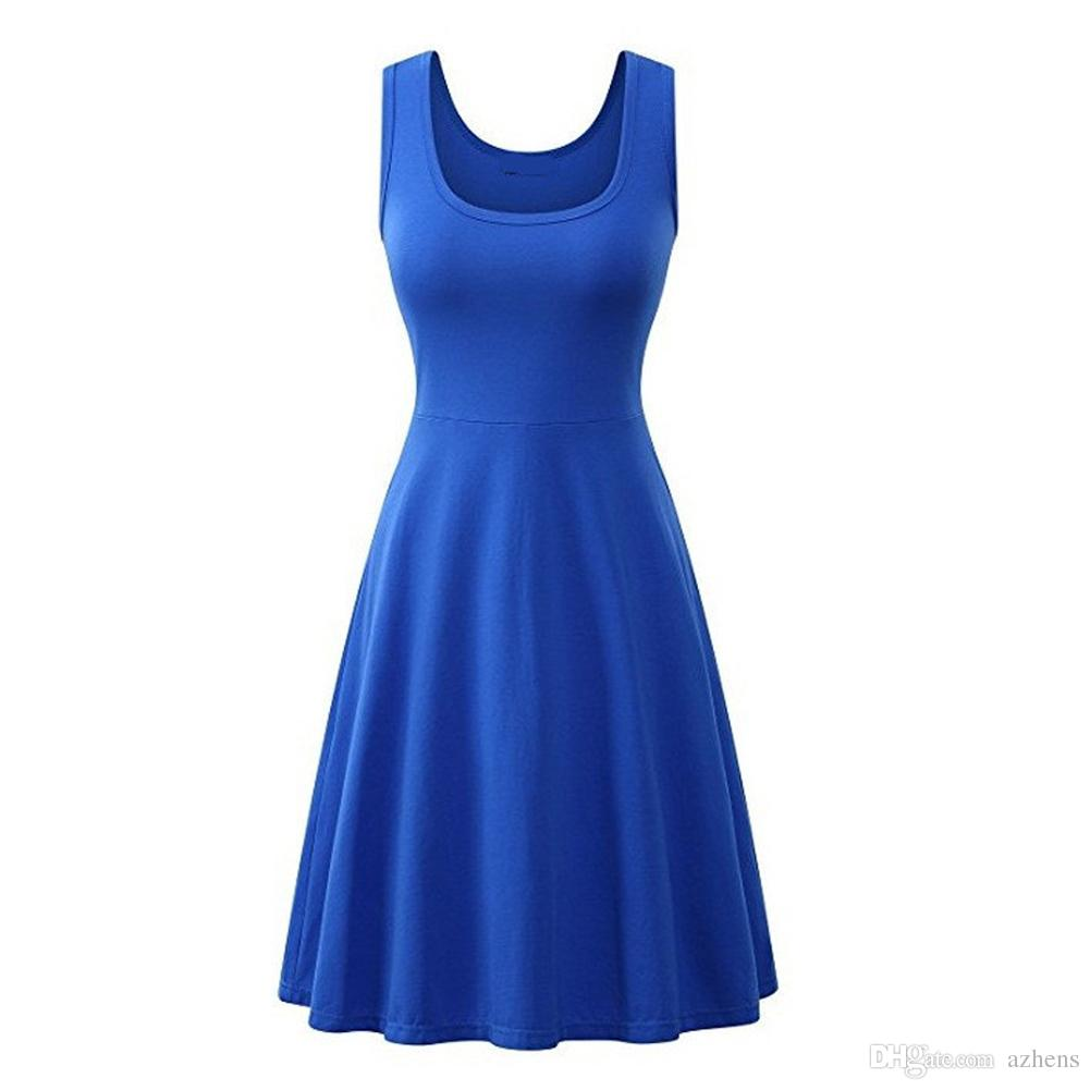 2018 Summer Newsest Womens Sexy Casual Sleeveless Midi Beach Tank Fit and Flare Dress Pure Color Vest Dresses