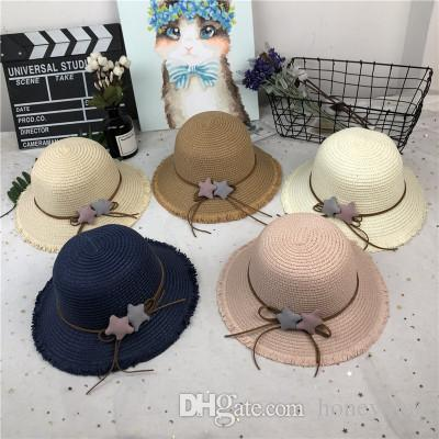 2018 New Boy Girls Children Star Straw Sun Hat Hair-edge Fashion Go ... 21ffd047feda