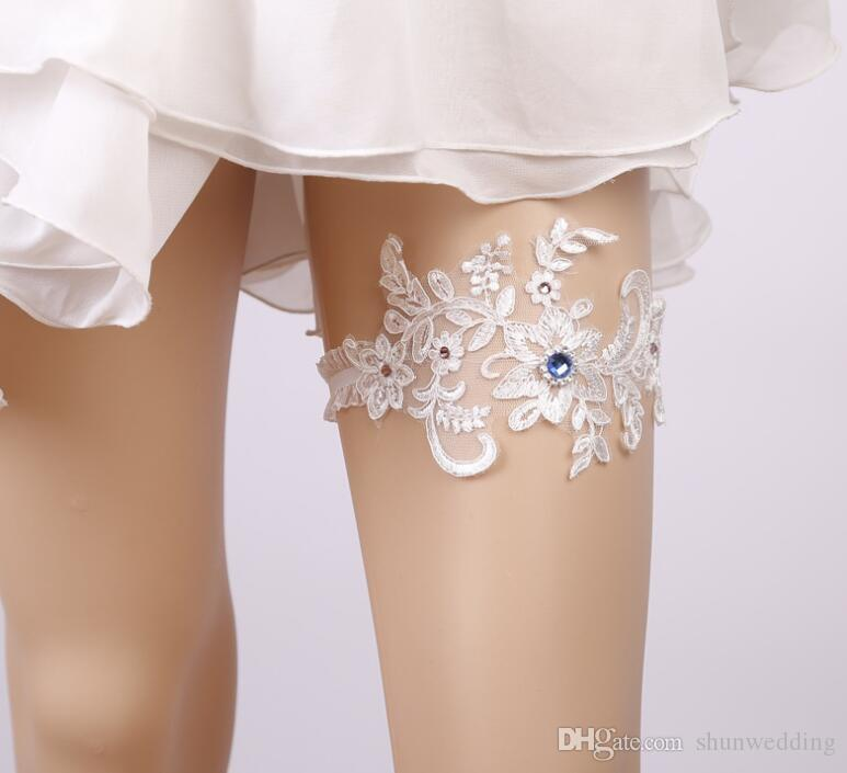 Wedding Leg Garters Rhinestone Beading White Embroidery Floral Sexy ... ad68a3c896bc