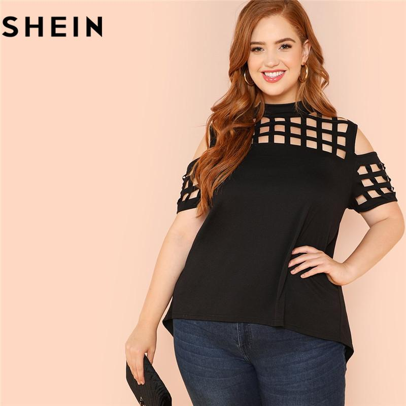 b13d971953c6b SHEIN Black Casual Cold Shoulder Cut Out Plus Size Woman T Shirt Summer  Fashion Hollow Out Asymmetric Solid Tops Tees Cool Shirts Online All Shirts  From ...