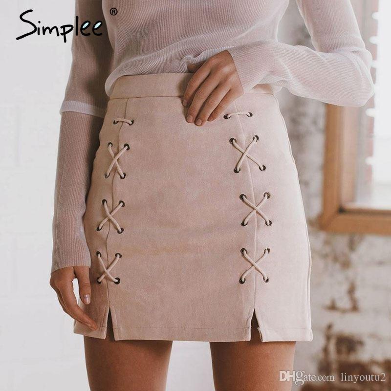 907daf1df 2019 Simplee Autumn Lace Up Leather Suede Pencil Skirt Winter 2017 Cross  High Waist Skirt Zipper Split Bodycon Short Skirts Womens From Linyoutu2,  ...