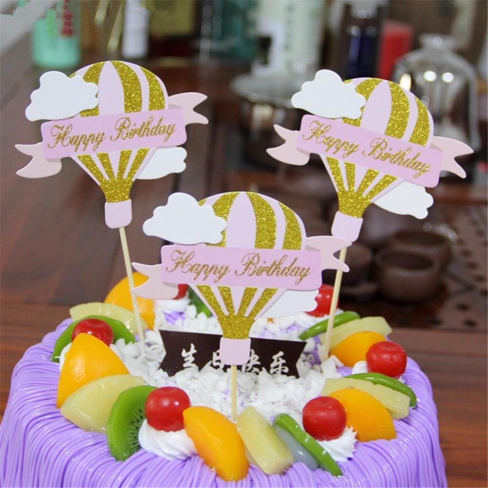 2019 CRLEY Wholesale Sparkling Happy Birthday Cupcake Topper Hot Air Balloon Cake Cup Toppers Decor Baby Shower Child From Guojianghome
