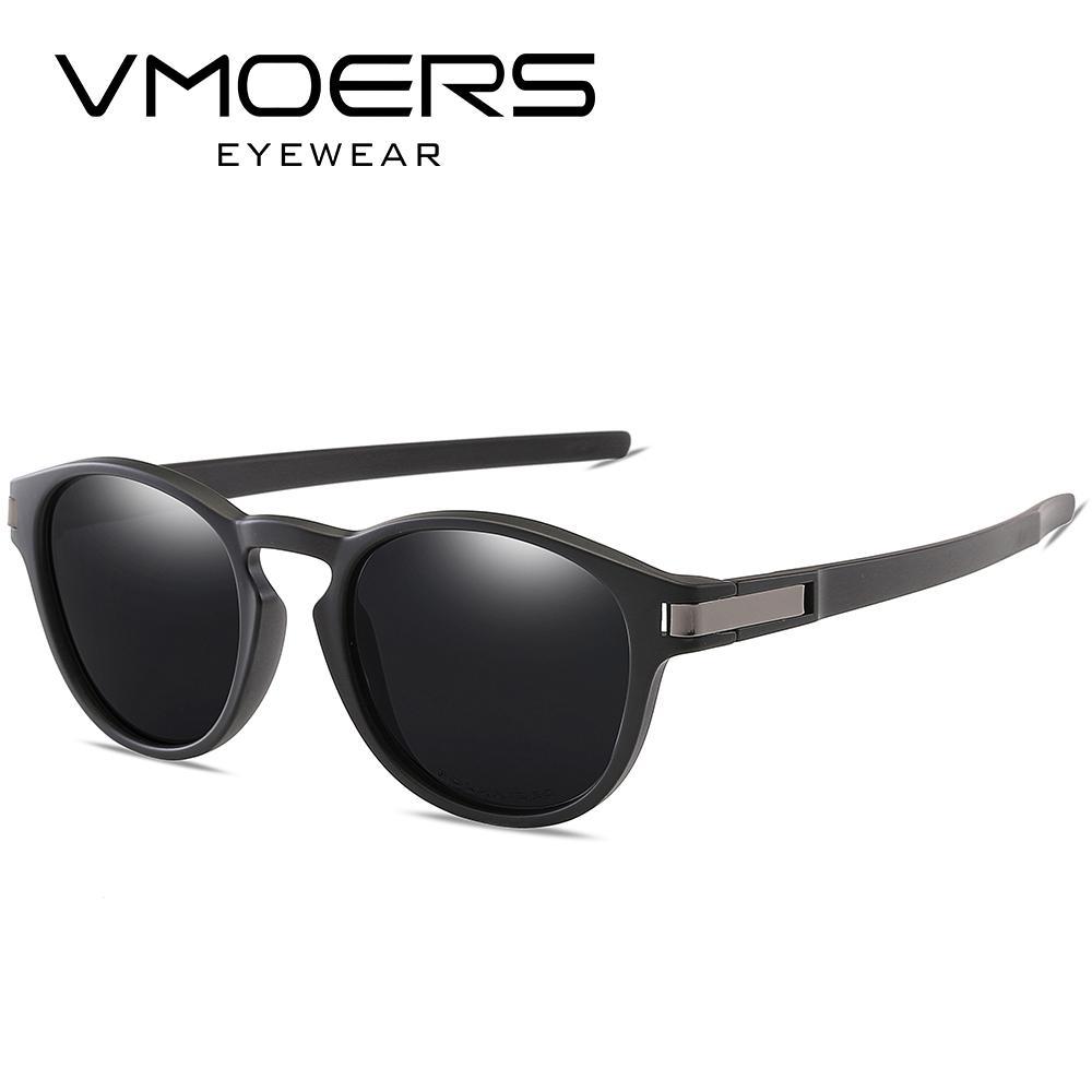 13a820ff6 Compre VMOERS Retro Rodada Óculos De Sol Dos Homens Polarizados Preto TR90  Sun Glasse Para Homens Marca Do Vintage De Alta Qualidade Sun Shades Oculos  ...