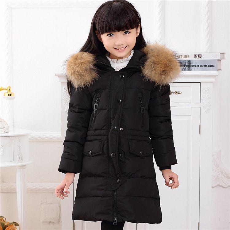 Chaqueta de niña de moda abrigo para niña de invierno DownParkas largo cálido Niños ropa de invierno Abrigos abrigos Chaqueta de pato