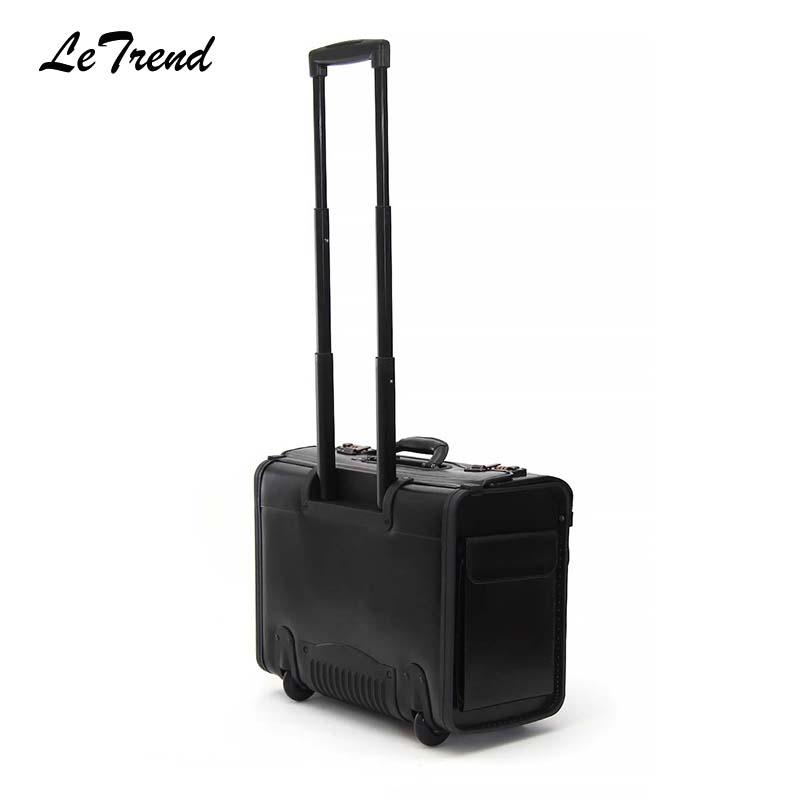 566b29189f8a Retro Genuine Leather Pilot Rolling Luggage 18 19 Inch Cabin Airline  Stewardess Travel Bag Wheel Suitcases Business Trolley Duffle Bags For Men  Personalized ...