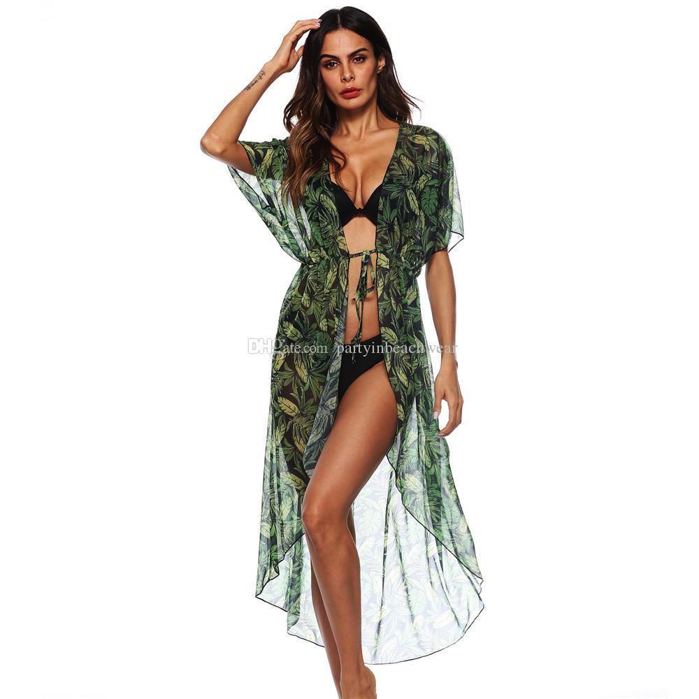 e723faeb5c 2019 Elegant Tropical Leaf Print Kimono Blouses Shirt Women Long Cardigan  Tops Summer Casual Beach Bohemian Chiffon Bikini Swimwear Cover Ups New  From ...