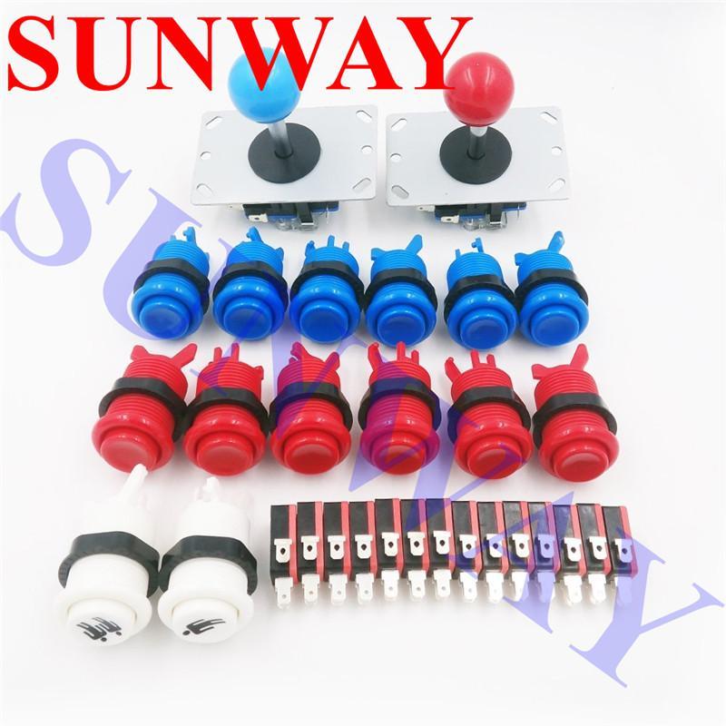 Arcade Sanwa Joystick Button Parts DIY Kit with 2 x 8 Way Arcade Joystick  14 x American happ Style Push Button with Microswitch