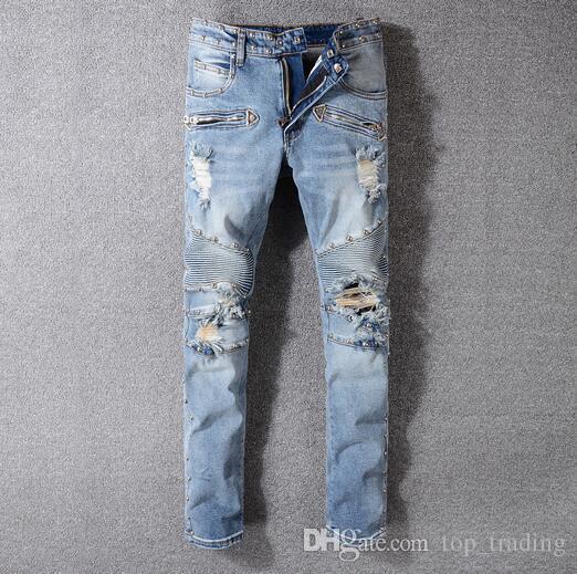 121ba043e529 Mens Distressed Ripped Skinny Jeans Brand Designer Men s Motorcycle ...